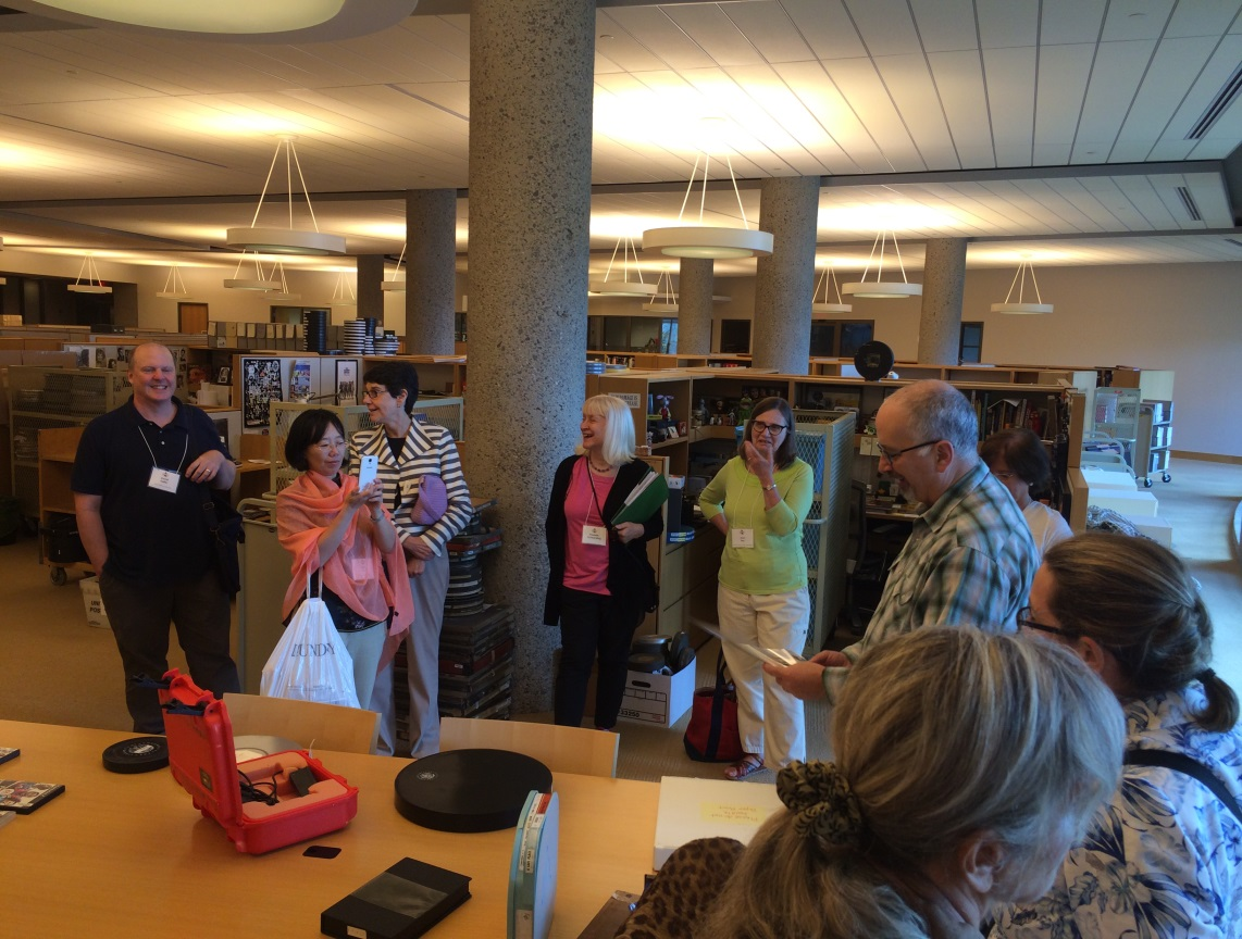 Packard Campus tour for IFLA Preconference delegates showing outdated technology examples. August, 2016.